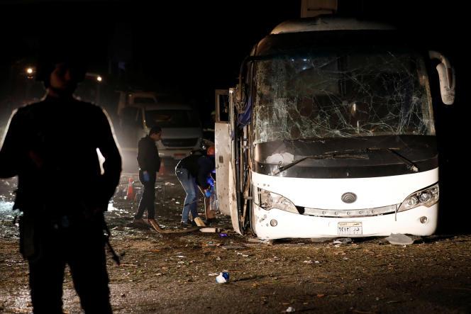 Le busattaqué àGizeh transportait des touristes, le 28 décembre 2018.