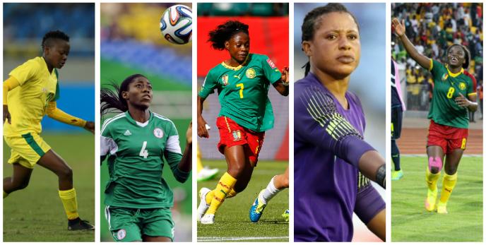 De g. à dr.: Thembi Kgatlana, Asisat Oshoala, Gabrielle Onguéné, Tochukwu Oluehi et Raïssa Feudjio.