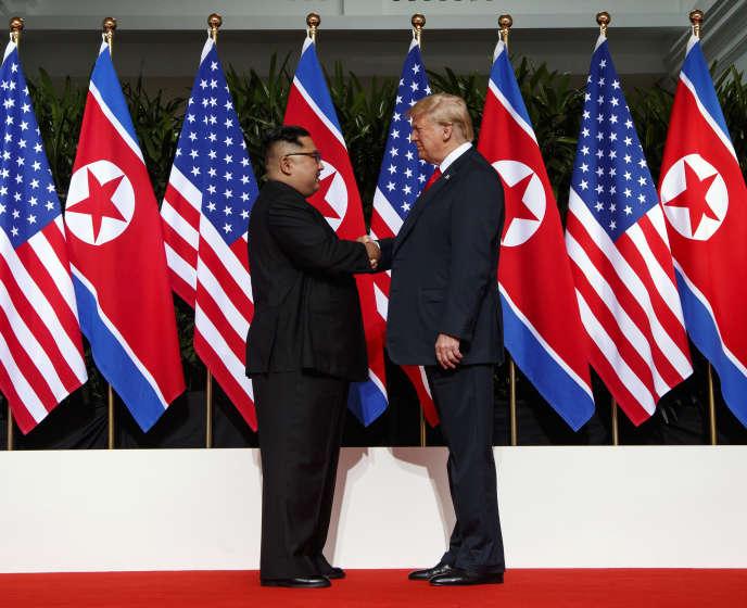 Kim Jong-un et Donald Trump le 12 juin 2018 à Singapour.