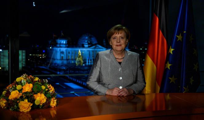 La chancelière allemande Angela Merkel, peu après l'enregistrement desa traditionnelle allocution du Nouvel An, à Berlin, le 30 décembre.