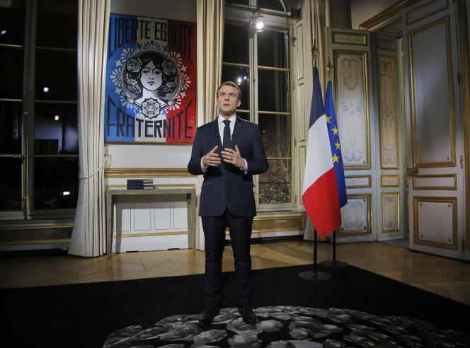 Emmanuel Macron lors de ses vœux à l'Elysée, le 31 décembre à Paris.