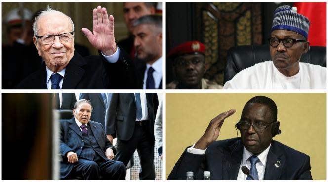 De gauche à droite et de haut en bas : les présidents Béji Caïd Essebsi (Tunisie), Muhammadu Buhari (Nigeria), Abdelaziz Bouteflika (Algérie) et Macky Sall (Sénégal).