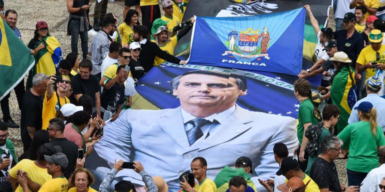 Supporters of the Brazilian President-elect Jair Bolsonaro, gather at the