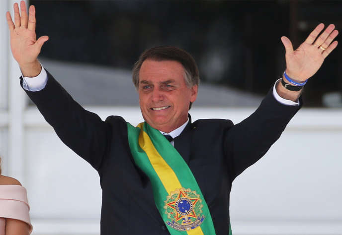 Le président Jair Bolsonaro lors de son investiture à Brasilia au Brésil le 1 janvier.