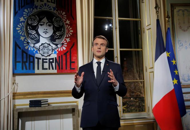 Emmanuel Macron au palais de l'Elysée, le 31 décembre 2018, lors de la présentation de voeux.