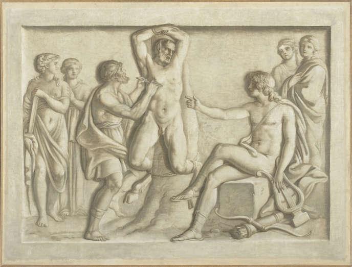 « Apollon torturant Marsyas », grisaille de Joseph Cellony (XVIe-XVIIe siècle).