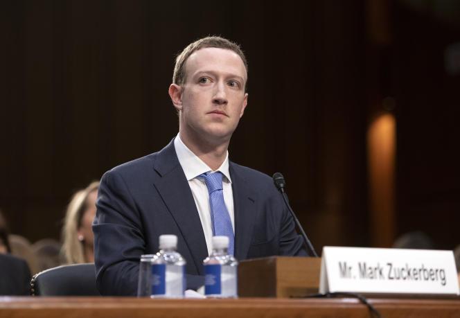 Le PDG de Facebook, Mark Zuckerberg, lors de son audition par une commission du Sénat des Etats-Unis le 10 avril 2018 à Washington.