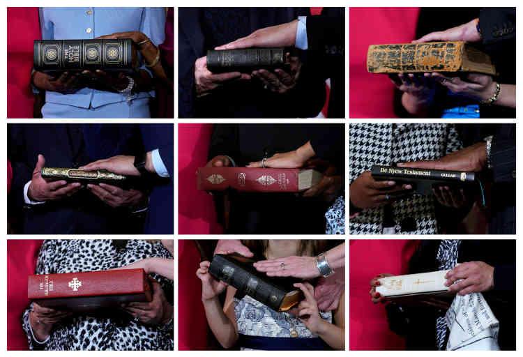 Ce montage montre des membres du Congrès prêtant serment sur la Bible ou le Coran.