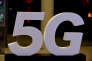 Logo 5G photographié lors de l'inauguration du campus du groupe Altice à Paris, le 9 octobre 2018.