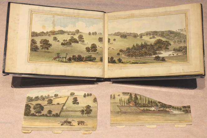 Vues du « Red Book» de Sundridge Park (1793), prêté pour l'exposition par City & Country, qui réhabilite pour une clientèle fortunée des demeures et des domaines historiques.