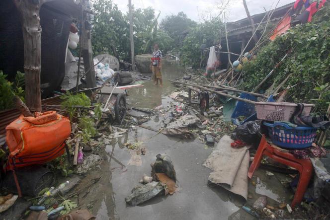 Des maisons touchées par la tempête Pabuk, le 5 janvier, àPak Phanang, dans la province deNakhon Si Thammarat.