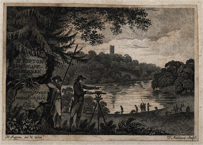 La carte de visite d'Humphry Repton, « landscape gardener» (« jardinier paysagiste»), par Thomas Medland (1765-1833).