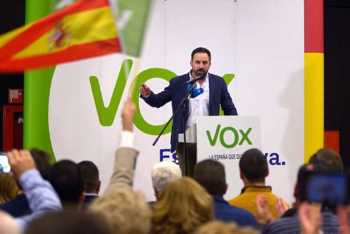 Santiago Abascal, président du parti d'extrême droite Vox, lors de sa compagne pour les élections régionales en Andalousie, le 26 novembre 2018.