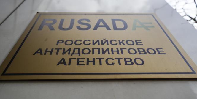 Plaque sur les bureaux de l'Agence russe antidopage, à Moscou.