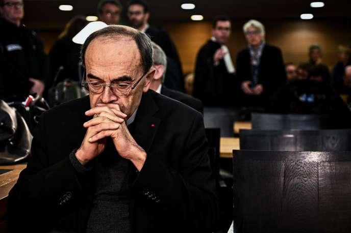 Le cardinal Philippe Barbarin, le 7 janvier, au tribunal correctionnel de Lyon.