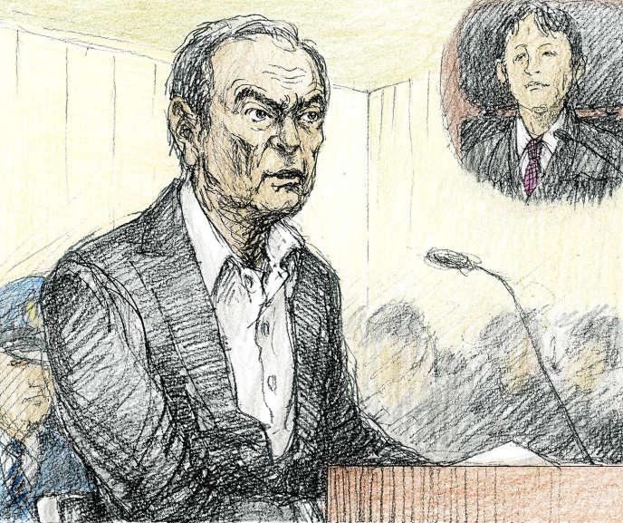 Croquis d'audience représentant l'ex-PDG de Nissan, CarlosGhosn, lors de sa comparution devant le tribunal deTokyo, le 8janvier.