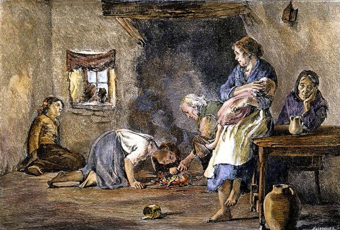 Dans un foyer irlandais durant la Grande Famine, gravure colorisée du XIXe siècle.