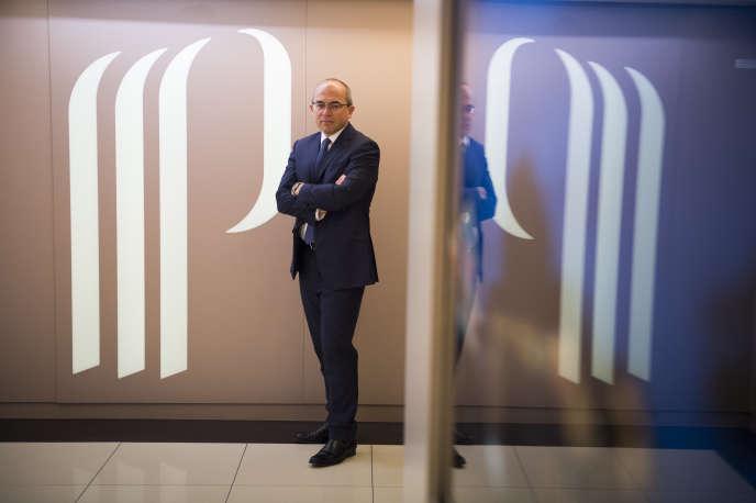 Fabrice Paire, le président du directoire de Partouche, en janvier 2016, au siège du groupe dans le 17e arrondissement de Paris.