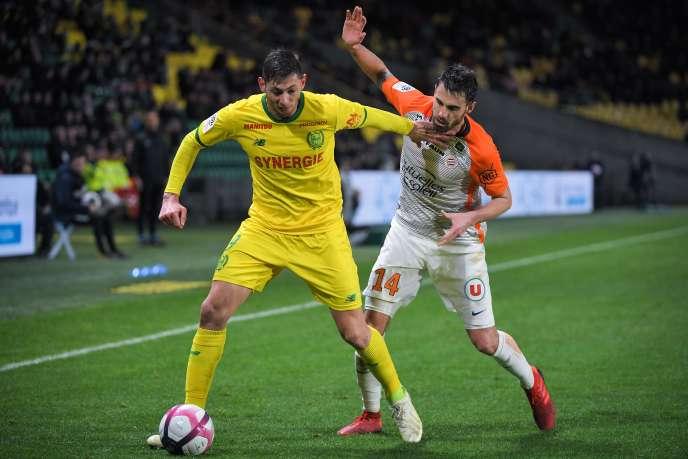 Emiliano Sala (en jaune) lors du match Nantes-Montpellier, le 8 janvier 2019.