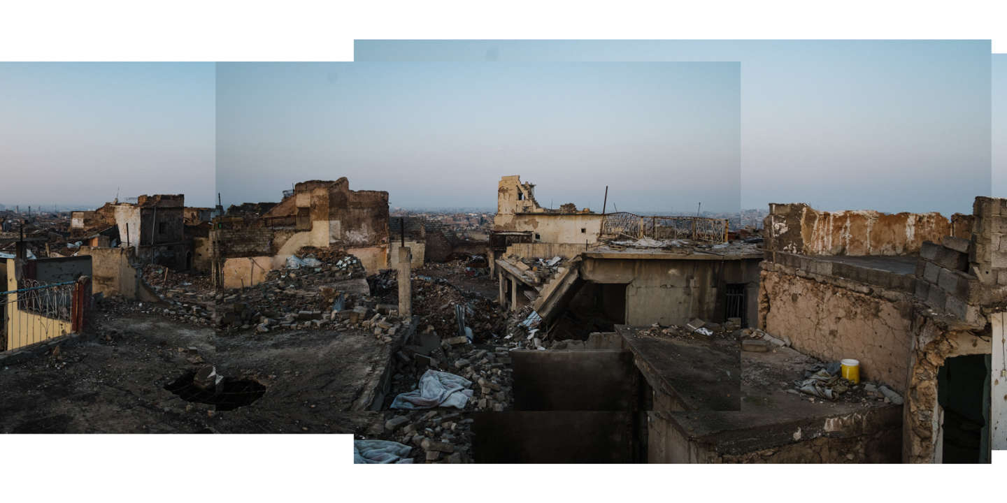 A panormaic landscape view of the West Side of Mosul. The majority of Old City West Mosul remains in ruin.