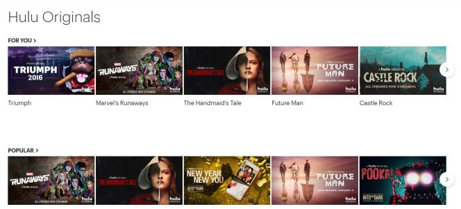 Capture d'écran de la page d'accueil des productions Hulu.