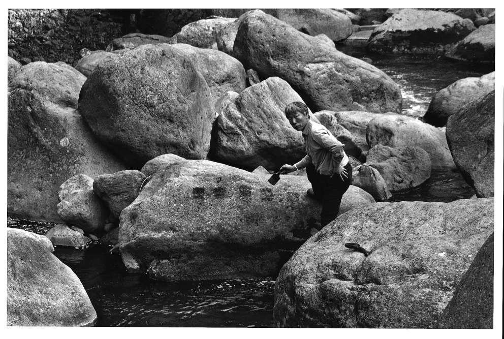 «Au milieu d'un paysage tellurique sans âge, Lee Ufan vient de réaliser avec l'eau de la source cinq marques de pinceau sur le rocher. Le soleil les fera bientôt disparaître les unes après les autres, suivant l'ordre dans lequel le peintre les a réalisées. Avec un tel happening, qui s'inscrit dans une tradition asiatique ancienne, Lee Ufan semble maîtriser le passage du temps tout en témoignant de son humilité face à lui. Le geste pourrait se répéter à l'infini, pourtant l'œuvre est éphémère. Elle échappe ainsi à tout cadre temporel et spatial, elle est en fusion avecle paysage et la nature minérale qui l'entoure et l'absorbe. Apparition et disparition sont deux thèmes fondamentaux dans l'œuvre de l'artiste, tous deux aussi intimement liés aux notions de temps et d'espace.»