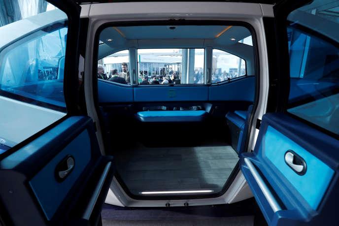 La navette autonome électrique de l'entreprise française Milla, au CES de Las Vegas, le 8 janvier.