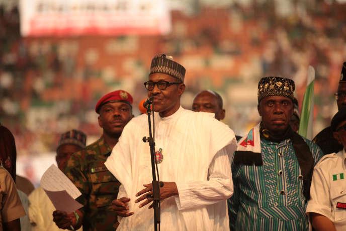 Le président sortant du Nigeria, Muhammadu Buhari, en campagne électorale pour sa réélection, à Uyo, dans le sud-est du pays, le 28 décembre 2018.