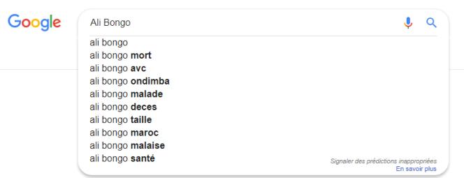 Suggestions de Google pour la recherche « Ali Bongo», le 9janvier 2018.