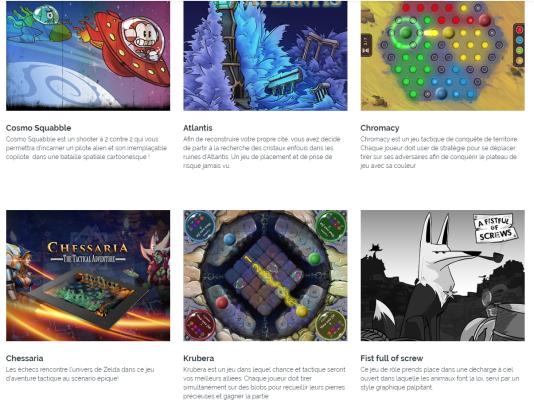 Parmi les jeux fournis, certains sont proches de l'univers du jeu de plateau, d'autres s'apparentent plutôt à l'univers du jeu vidéo.
