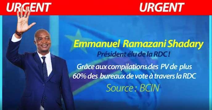 Capture d'écrand'une vidéo diffusée sous forme de publicité affirmant qu'Emmanuel Ramazani Shadary avait remporté l'élection.