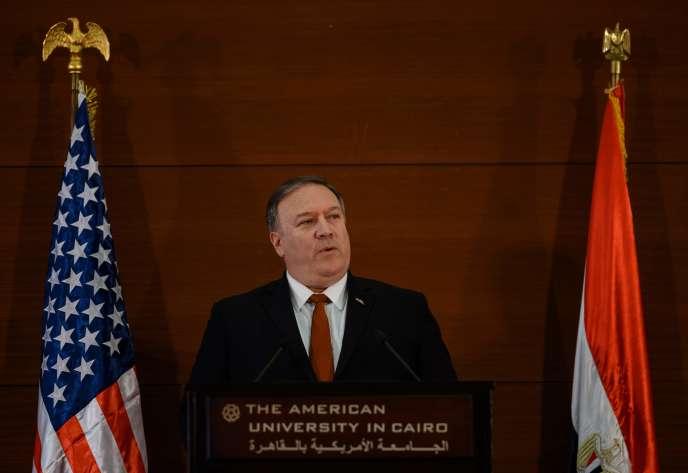 Le secrétaire d'Etat américainMike Pompeo s'exprime au Caire le 10 janvier dans le cadre d'un voyage destiné à accompagner le retrait des troupes américaines de Syrie.