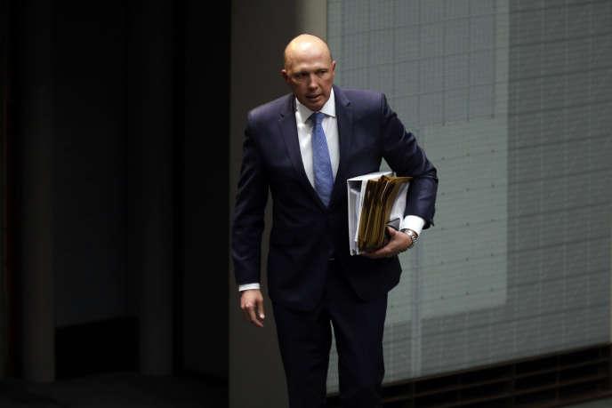 Le ministre australien de l'intérieur, Peter Dutton, à Canberra, en août 2018.