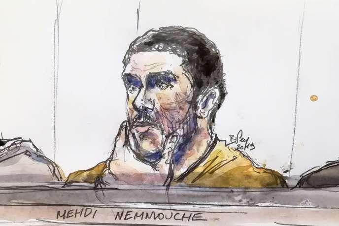 Croquis judiciaire montrant Mehdi Nemmouche lors de son procès au palais de justice de Bruxelles, le 10 janvier.