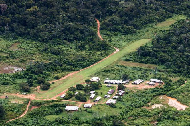 Le camp de base du projet d'exploitation aurifère de la Montagne d'or(Guyane), en mai 2017.