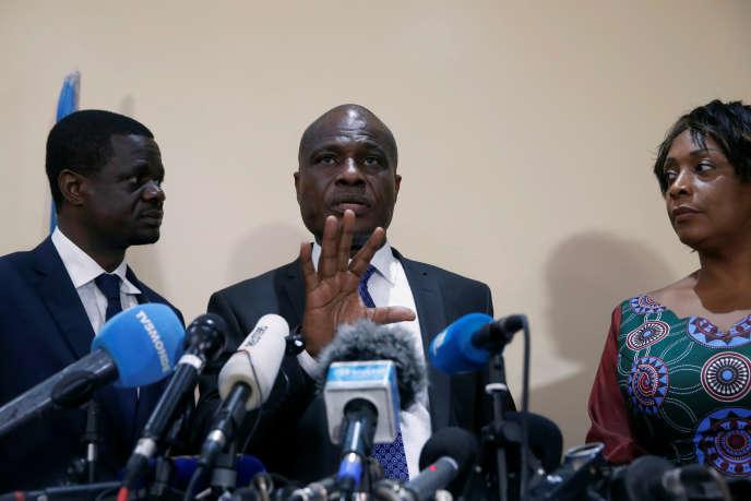 Martin Fayulu lors d'une conférence de presse à Kinshasa, en RDC, le 8janvier 2019.