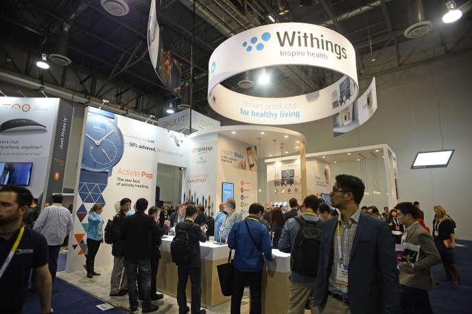 Le stand Withings, lors de l'édition 2015 du CES de Las Vegas.