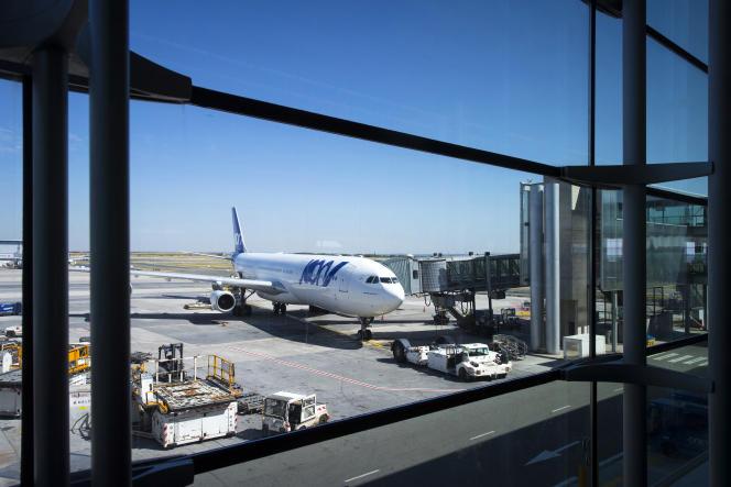 Un avion de Joon sur le tarmac de l'aéroport Roissy-Charles-de-Gaulle, au nord de Paris, en août 2018.