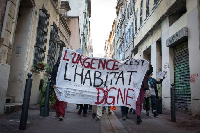"During a march for ""dignified housing"", in Marseille, on December 5th."