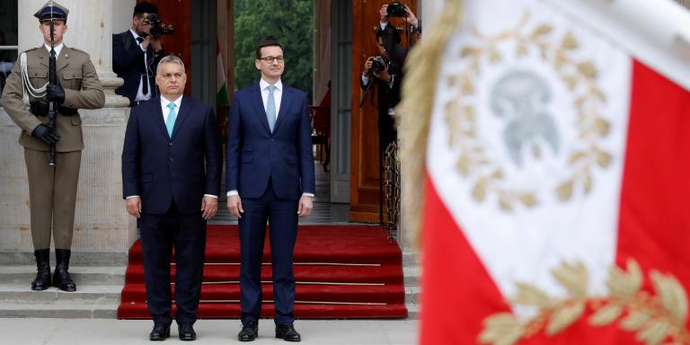 Poland's Prime Minister Mateusz Morawiecki meets his Hungarian counterpart Viktor Orban in Warsaw, Poland May 14, 2018. REUTERS/Kacper Pempel - RC18885B5850