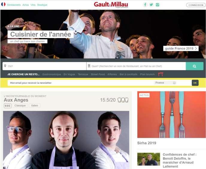 Capture d'écran du site de Gault & Millau.
