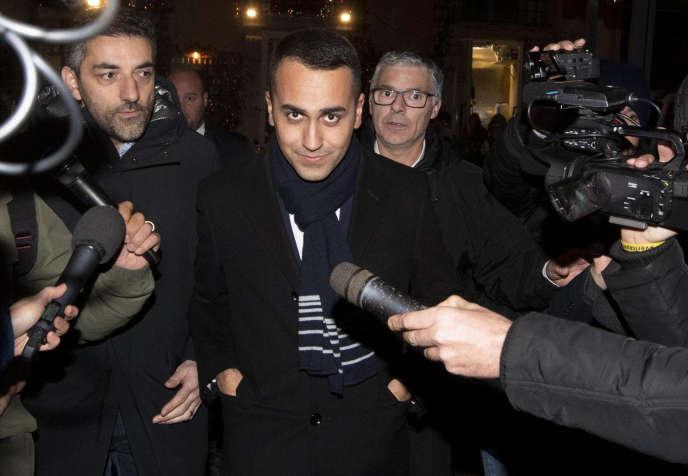 Le vice-premier ministre Luigi Di Maio, chef du Mouvement 5 étoiles, ici le 9 janvier à Rome, a manifesté son soutien aux « gilets jaunes».