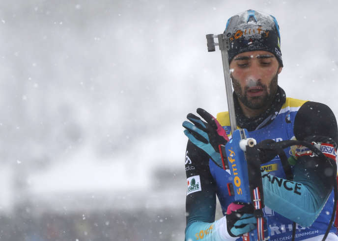 Martin Fourcade at the Biathlon World Cup event in Oberhof, Germany on January 12th.