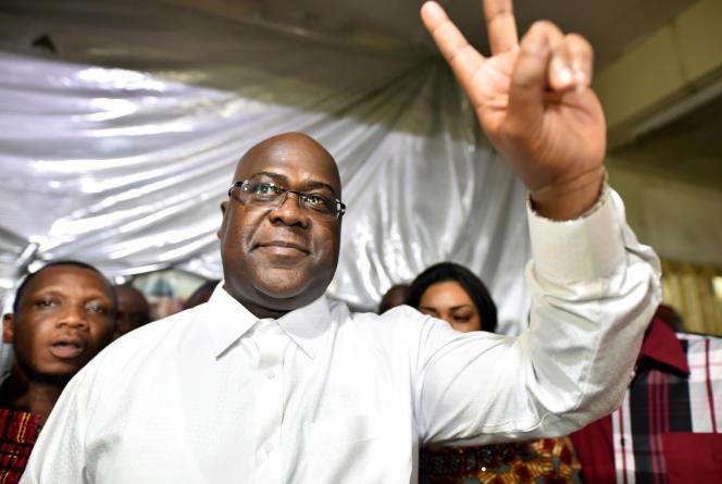 FélixTshisekedi, ici le 10 janvier au siège de sonparti, a été officiellement proclamévainqueurde l'élection présidentielle.