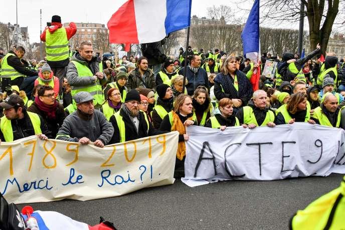 Lors de l'acte 9 du mouvement des« gilets jaunes», le 12 janvier.