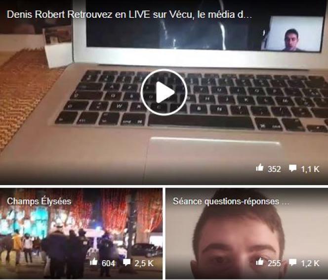Sur la page Facebook de« Vécu», «média citoyen » créé par Gabin Formont.