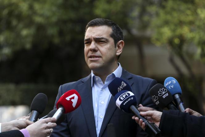 Le premier ministre grec Alexis Tsipras peu après la démission de son ministre de la défense, Panos Kammenos, à Athènes, le 13 janvier 2019.