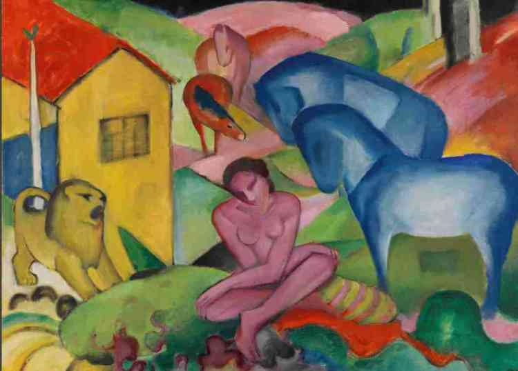 Unis par une profonde amitié, Franz Marc (1880-1916) et August Macke (1887-1914) comptent au rang des artistes majeurs du mouvement expressionniste allemand «Der Blaue Reiter» («Le Cavalier bleu»). Le Musée de l'Orangerie consacre, pour la première fois à Paris, une exposition à ces deux artistes, morts tous deux sur le front en France. Légende : «Le Rêve» [«Der Traum»] (1912), deFranz Marc, huile sur toile.