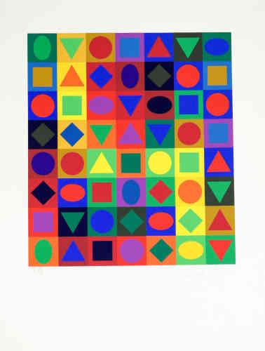 A travers 300 œuvres, cette exposition propose un parcours à la fois chronologique et thématique via la production foisonnante de Victor Vasarely (1906-1997), depuis sa formation dans les traces du Bauhaus jusqu'à ses dernières innovations picturales et formelles.Légende :«Majus» (1972), de Victor Vasarely,