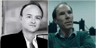 A droite, Dominic Cummings, à gauche, l'acteurBenedict Cumberbatch dans le rôle du directeur de « Vote Leave» dans le téléfilm «Brexit : The Uncivil War».